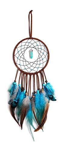 ZEEREE Azul Atrapasueños, Atrapasueños con Plumas y Cuentas Atrapasueños,Decoraciones de la Pared del Dormitorio