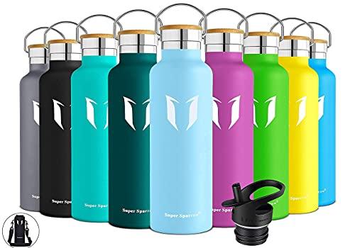 Super Sparrow Trinkflasche Edelstahl Wasserflasche - 500ml - Isolier Flasche mit Perfekte Thermosflasche für das Laufen, Fitness, Yoga, Im Freien und Camping   Frei von BPA