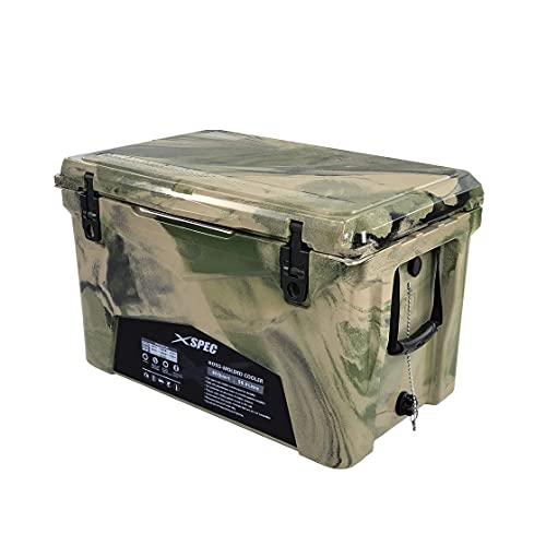 Xspec 60 Quart Roto Molded High Performance Pro Tough Outdoor Ice Chest Cooler, Durable Stylish with Bottle Openers, Vacuum Release Valve and Easy Snap Tight Latches, Camouflage