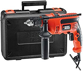 Black+Decker 710W 13mm 2,800 RPM Corded Variable Speed Hammer Drill with Side Handle & Depth Stop for Wood, Steel & Masonr...