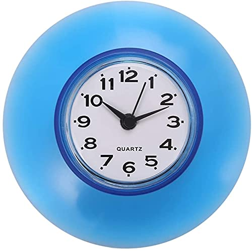 Mini reloj de pared para cuarto de baño, cocina, con ventosa redonda,...