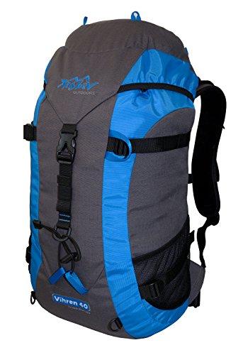 Tashev Outdoors Vihren Trekkingrucksack Wanderrucksack Damen Herren Backpacker Rucksack Daypack groß 40L in vielen Farben (Hergestellt in EU) (Grau & Blau)