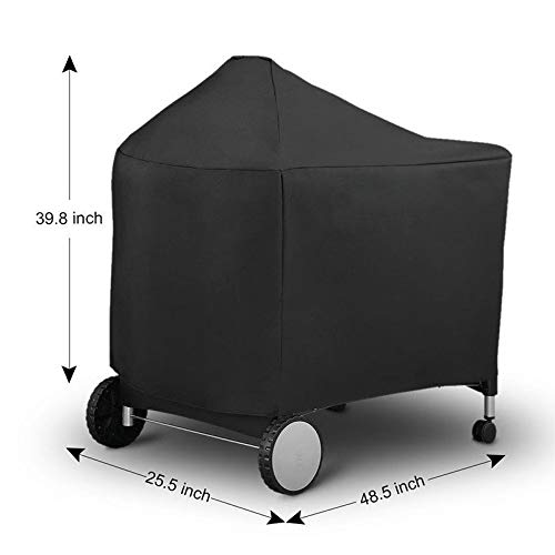 Edumarket241 BBQ Barbecue Cover Waterproof Protective Grill Cover for Weber 7152 Charcoal Grills Outdoor Camping BBQ Accessories Black