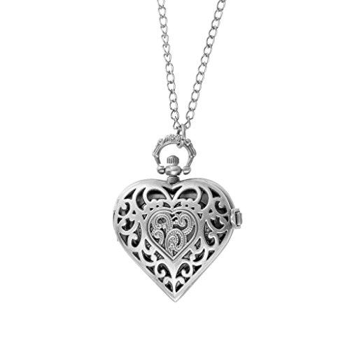 Generic Collier Pendentif Montre Gousset Montre de Poche Quartz Pendentif de Coeur Creux Antique avec Chaîne de Chandail