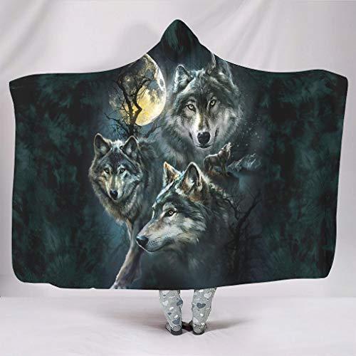 Fineiwillgo Manta con capucha de tres lobos y el lobo, supersuave, cálida, con capucha, para mujer, de felpa, para salón, sofá, color blanco, 150 x 200 cm