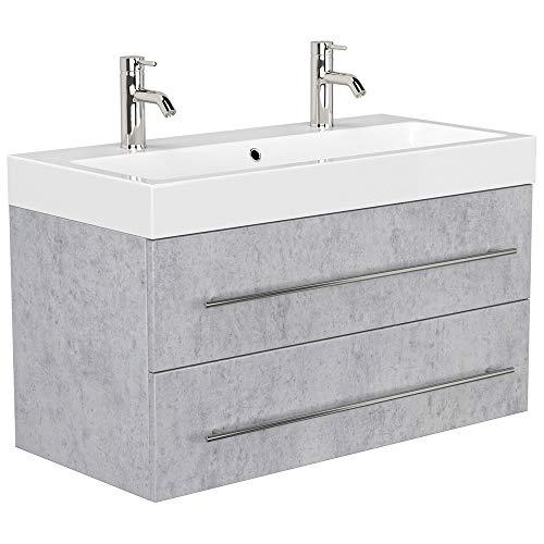 Lomadox Badezimmer Doppel-Waschtisch aus Mineralguss Breite 100cm in Beton-Optik Badmöbel-Set