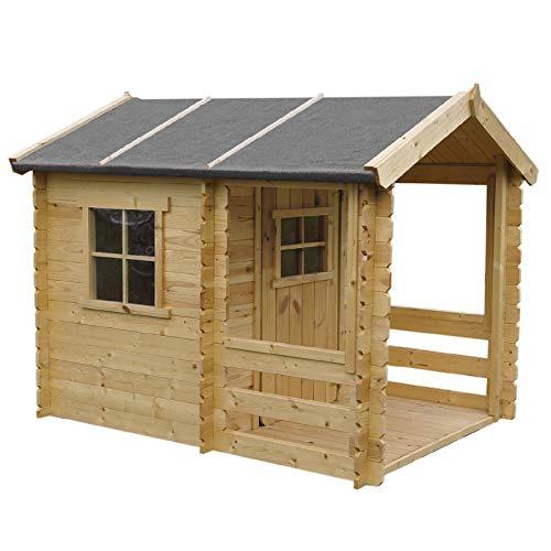 Spielhaus Finn Natur 160 x 120 cm aus Holz Natur für Garten Kinder