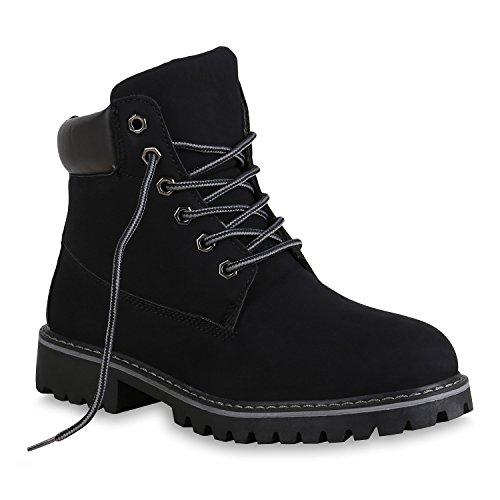 Damen Stiefeletten Warm Gefütterte Worker Boots Outdoor Schuhe 153620 Schwarz Brooklyn 36 Flandell