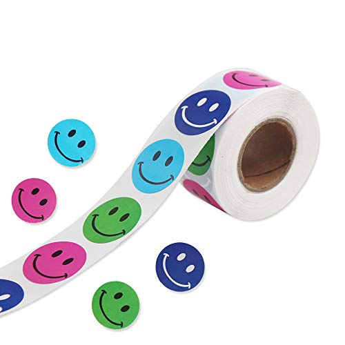 """Smiley Face Stickers, 1"""" Circle Removable Colorful Happy Face StickersPerfect Teachers Stickers forClass, Party, Reward, 500 pcs/Roll…"""