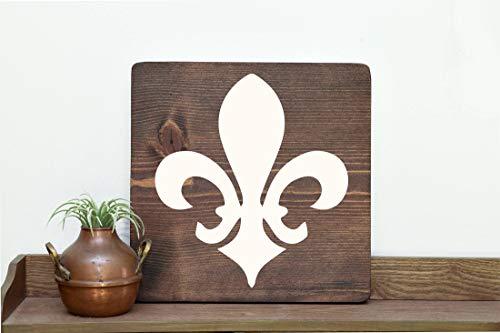 prz0vprz0v Fleur De Lis Art French Art Creole Sign France Cajun Sign Baton Rouge New Orleans Art Lafayette NOLA Southern Art Southern Home Louisiana Wood Sign 11 x 11 Inch