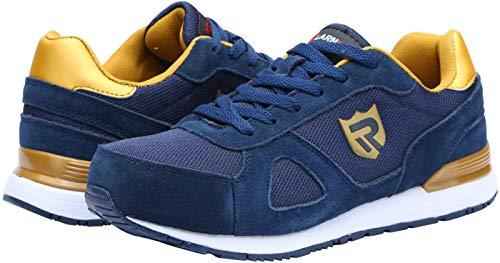 LARNMERN Zapatos de Seguridad Hombre Gamuza Suave S1 SRC Antideslizante Punta de Acero Zapatillas Ligeros y Cómodos