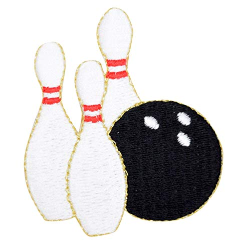 Bowling Pins and Ball Iron on Embroidered Applique Patch