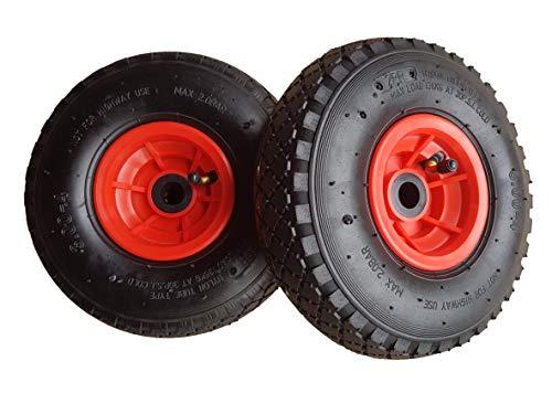 Frosal Rad Bollerwagen | Ersatzrad Reifen Sackkarre | Ersatzreifen | Sackkarrenrad Luftreifen Rollenlager Kugellager | Nabe 20mm/60mm (2 Stück)