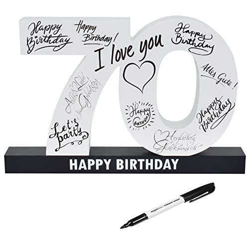 CREOFANT Libro de visitas XL para 70 cumpleaños · Libro de visitas Happy Birthday · 37 cm x 24 cm · 70 cumpleaños · Idea de regalo para 18 cumpleaños