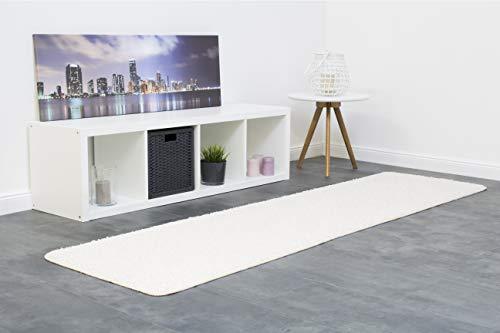 misento Shaggy Hochflor Teppich für Wohnzimmer Langflor, schadstoff geprüft 100 % Polypropylen,  creme-weiß 67 x 250 cm