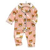Niños Pijamas Set bebé niños Homewear acogedora imitación de Seda Suave Tapa de la Rebeca Rosa Pantalones Oso 80cm 2PCS