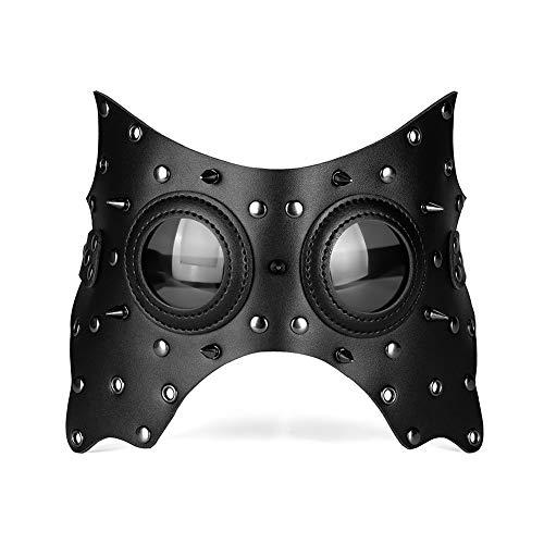 Nicexx Party Maske Steampunk Leder Herren & Damen Maskerade Masken Halloween Gesichtsmaske Verstellbare Träger - Schwarz - Large