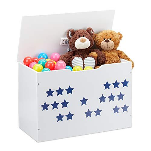 Relaxdays Spielzeugtruhe mit Deckel, Aufbewahrung für Kinder, Stern Design, Spielzeugkiste HBT: 40x60x30 cm, weiß/blau, 1 Stück