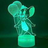 Luci novità Tom e Jerry Mouse Balloon Figure Home Decor Base luminosa Regalo di compleanno Camera da letto per bambini Lampada da notte a LED a LED 3D A-1908