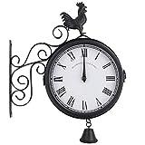 KEHUITONG 屋外ガーデンウォール駅時計ダブルはオスのひな鳥ヴィンテージレトロホームデコレーションを両面 (色 : ブラック)