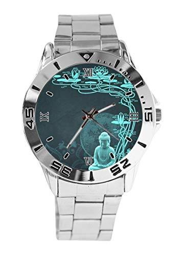 Buddha Design Analog Wrist Watch Quartz Silver Dial Classic Stainless Steel Band Women's Men's Watch