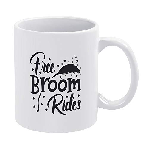 Best Funny Coffee Mug 11oz & 15oz Tea Cups & Coffee Mug Free Broom Rides with Magic Feather Humor Novelty Saying Gift For Girls, Husband, Wife, Men, For Women
