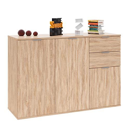 Deuba Kommode Sideboard Alba mit 2 Schubladen & 3 Türen 107 x 74 x 35 cm Anrichte Beistellschrank Holz, Eiche