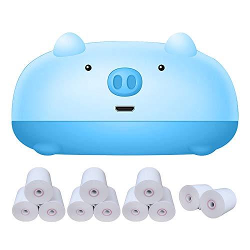 Rusaly Impresora fotográfica Impresora térmica portátil Bluetooth Mini cámara termográfica inalámbrica POS, Utilizada para Imprimir la Etiqueta de la Foto Pregunta Incorrecta (Azul)