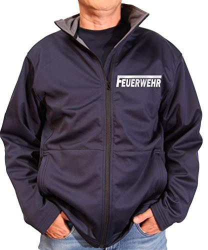 Coole-Fun-T-Shirts Feuerwehr Softshell Jacke ohne Kapuze für Herren mit reflektierendem Druck vorne + hinten S M L XL 2XL 3XL FF BF (L)