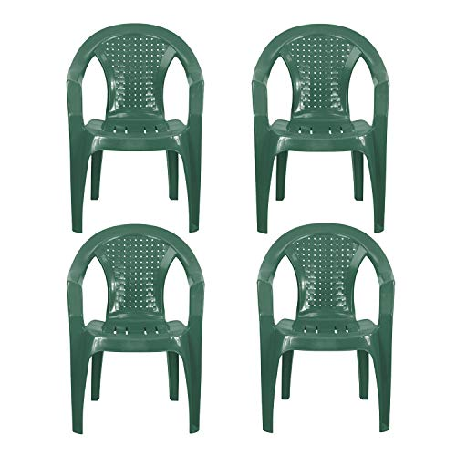 Plastic Garden Chairs - GREEN Set of 4 - Stackable with Woven Detail Low Back Design - Indoor or Outdoor Use - Suitable for Patio, Parties, Picnics or Camping.
