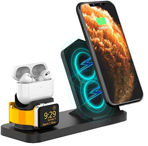 AODUKE Cargador inalámbrico, 3 en 1, Soporte de Carga inalámbrico para Apple Watch y AirPods, estación de Carga inalámbrica rápida Qi Compatible con Todos los teléfonos QI