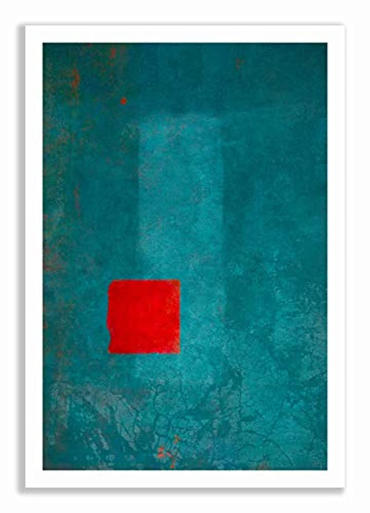 Red and Turquoise Abstract with White Lacquer Wooden Frame and Mount, Multicolored, 30x40