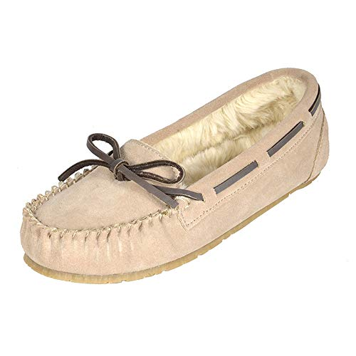 DREAM PAIRS Women's Shozie-01 Sand Faux Fur Slippers Loafers Flats Shoes Size 9.5-10 M US