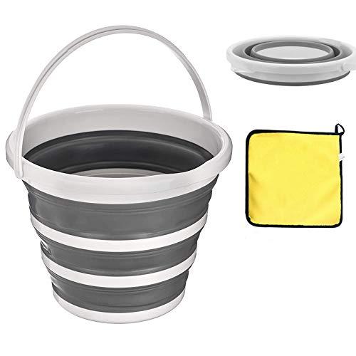 Cubo plegable que ahorra espacio, cubo de plástico de silicona redondo plegable resistente de 10 litros con asa, adecuado para cocina, exterior, camping, senderismo