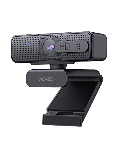 WEMISS Webcam per PC, Webcam con Microfono 1080P Full HD Stereo Riduzione del Rumore, Plug e Play, USB 2.0 Videocamera per Skype/Zoom, Desktop/Laptop/