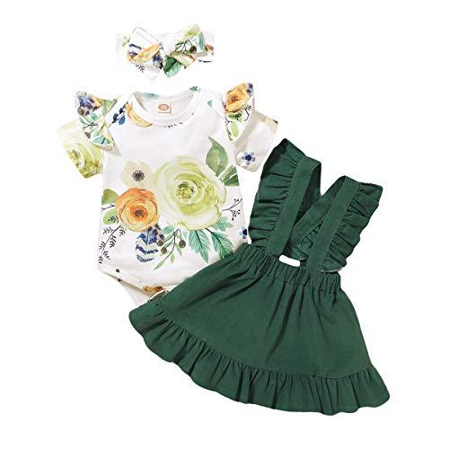 T TALENTBABY Neugeborene Baby Mädchen Kurzarm Kleidung Outfit Set 3 Stück Rüschen Druck T-Shirt Top + Rüschen Strapsrock + Schleife Stirnband für 0-24 Monate alt, weiß grün, 12-18 Monate