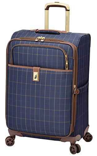 LONDON FOG Kensington II Softside Expandable Spinner Luggage, Navy Window Pane, Checked-Medium 25-Inch