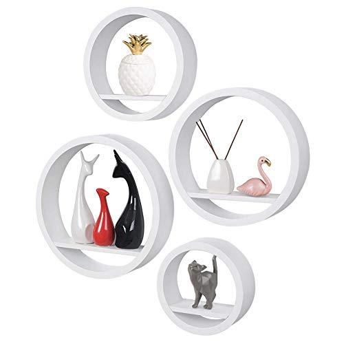 BAKAJI Set 4 Mensole da Parete Moderne Design Rotondo Mensola Scaffale 1 Ripiano in Legno MDF Colore Bianco Varie Dimensioni (Bianco)