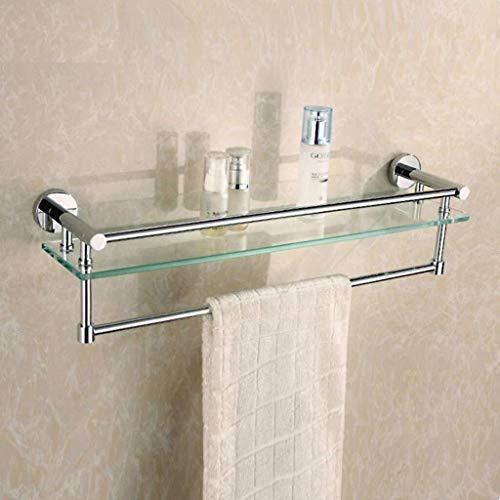 ZfgG estantes de baño, Estante de Cristal con toallero Camilla de Ducha Rectangular Cesta de la Pared Organizador 60cm ✅