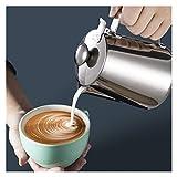 Fuxwlgs Jarra de Leche Leche Frother Jug Beadless Acero Inoxidable 304 Milk Jack Taza de la Leche con Tapa para la Taza de café de café Espresso para Home Cafe Bar (Farbe : 600ml with Lid)