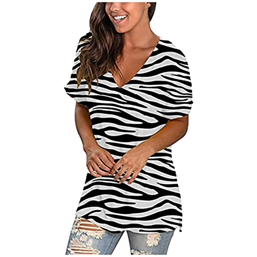sunnymi Letnia koszulka z krótkim rękawem, dla kobiet, z nadrukiem, z dekoltem w serek, z krótkim rękawem, na co dzień