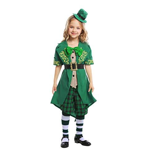 Jeff-chy Disfraces De Halloween para Niños Día De San Patricio Disfraces De Duendes Irlandeses Disfraces De Elfos Infantiles De Alicia Conjuntos para 4-12 Años