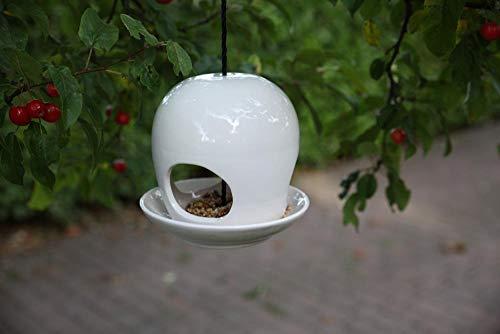 Esschert Design Vogelhaus, Vogelfutterhaus mit Kuppel aus Keramik in weiß, zum Aufhängen, ca. 19 cm x 19 cm x 18 cm - 3