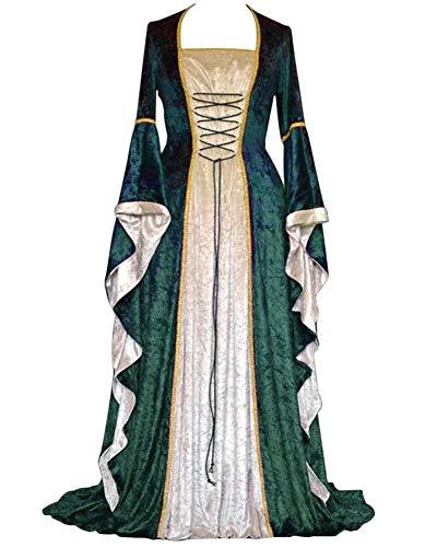 Disfraz Medieval Vestido Manga Larga Vintage Disfraz Renacentista Cosplay Manga De Llamarada para Mujeres Verde S