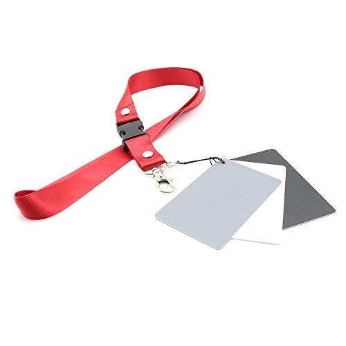 Digital 18% Gray/White/Black Card Pocket Size Set Photography Exposure Balance Strap