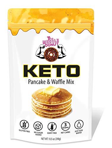 Keto Pancake & Waffle Mix   Just Add Water, Fluffy, Gluten Free, Grain Free, Dairy Free, Low Carb Pancakes   3g Net Carbs per Serving   Sugar Free, No sugar Added   Baking Mix, makes Cupcakes, Bread, Mugcakes, English Muffin   Easy to Make