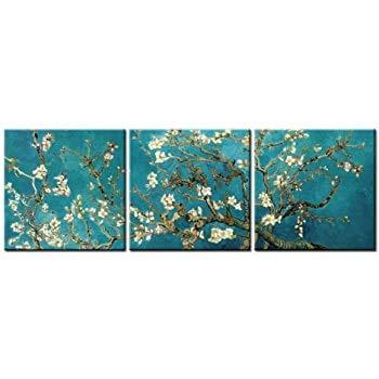 NOBRAND Cuadro en Lienzo Arte de la Pared Imagen Vincent Van Gogh's Pintura Ramas de un Almendro en Flor para la decoración del hogar 30x30cm (11.8x11.8 Pulgadas) x3 Sin Marco