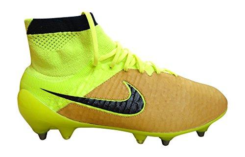 Nike Magista Obra Lthr SG-PRO, Scarpe da Calcio Uomo, Oro/Giallo Fluo/Nero (Canvas Black), 42 EU