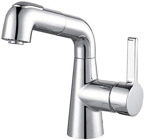 Grifo de lavabo Aleación de zinc Giratorio Universal Gabinete de baño Lavabo Grifo de champú Tubo de doble velocidad Tipo de extracción Grifo de lavabo