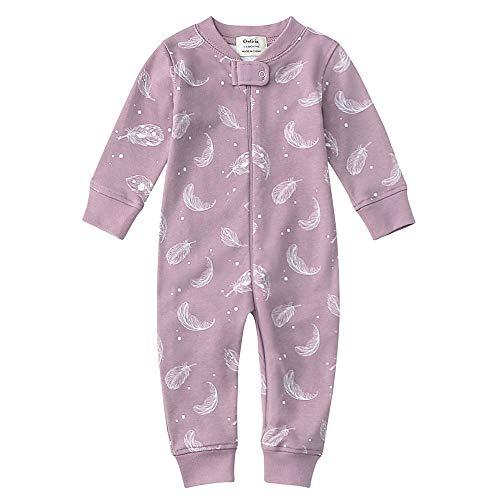 Owlivia Organic Cotton Baby Boy Girl Zip up Sleep N Play, Footless, Long Sleeve(18-24Months, Feather)